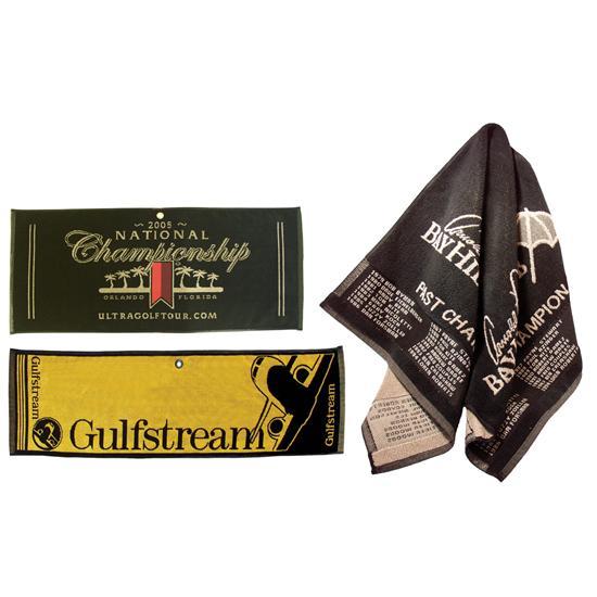 Logo Golf Woven Cotton Towel - Caddy Size Golf