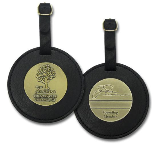 Logo Golf 3 1/2 Inch Round Leather Bag Tag w/ 2 Medallions