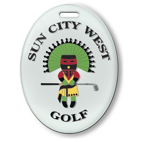 Logo Golf Oval Crystal Fusion Custom Bag Tag