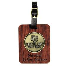 Logo Golf Rectangular Rosewood Custom Bag Tag