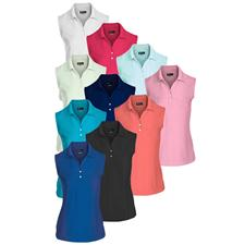 Greg Norman Custom Logo Micro Pique Sleeveless Logo Polo for Women