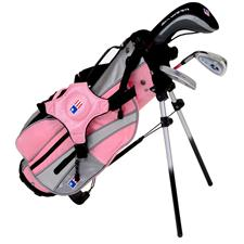 U.S. Kids Girls Ultralight Series Pink 3-Club Stand Bag Set