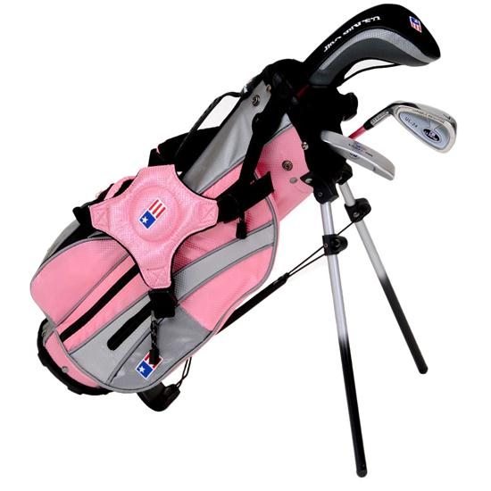 u s kids girls ultralight series pink 3 club stand bag set pink left hand. Black Bedroom Furniture Sets. Home Design Ideas