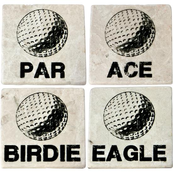 Classic Marble Tile Coaster Set - Birdie Collection
