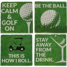 Classic Marble Tile Coaster Set - Sayings Collection