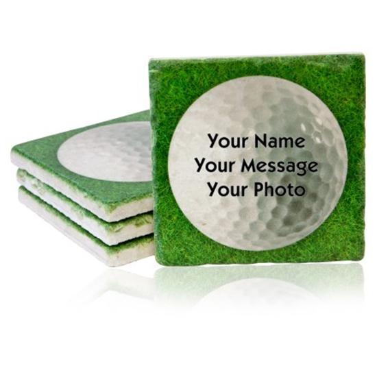 Classic Personalized Marble Tile Coaster Set