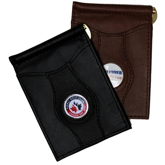 Logo Golf Leather Money Clip