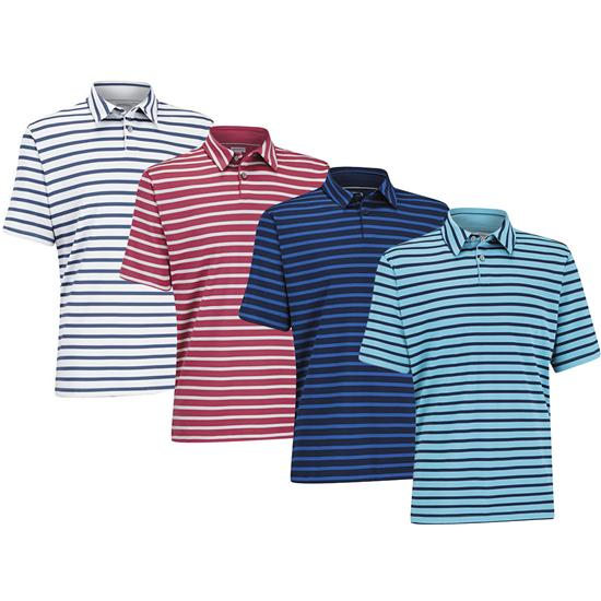 Ashworth Men's Matte Interlock Stripe Golf Polo