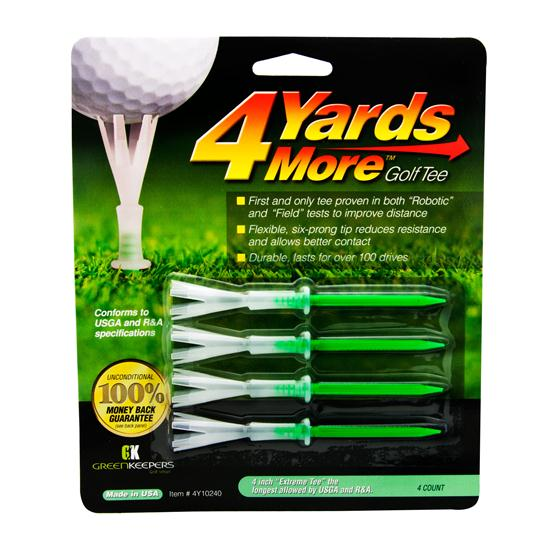 4 Yards More 4 Inch Green Golf Tees - 4 CT