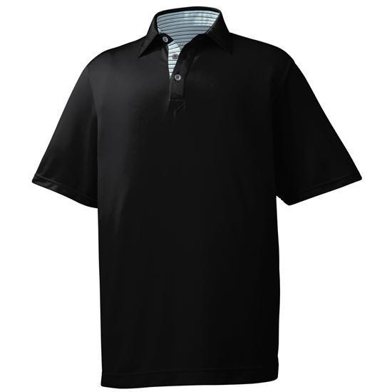 FootJoy Men's Stretch Pique Pinstripe Trim Self Collar Polo