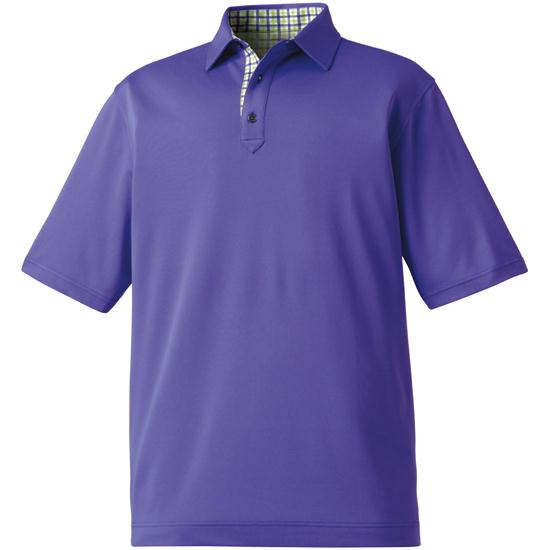 FootJoy Men's Stretch Pique Solid Gingham Trim Self Collar Polo