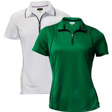 Greg Norman Short Sleeve Zip Piped Polo for Women