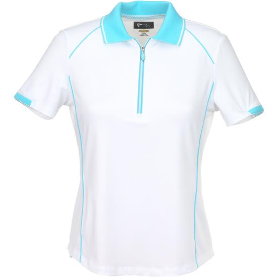 Greg Norman Short Sleeve Zip Contrast Trim Polo for Women