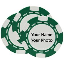 Classic Photo Poker Chips - Green - 3 Pack