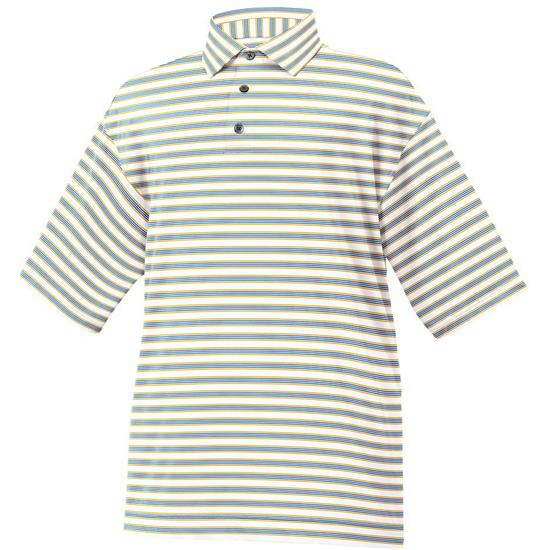 FootJoy Men's Lisle Multi Stripe Self Collar Polo