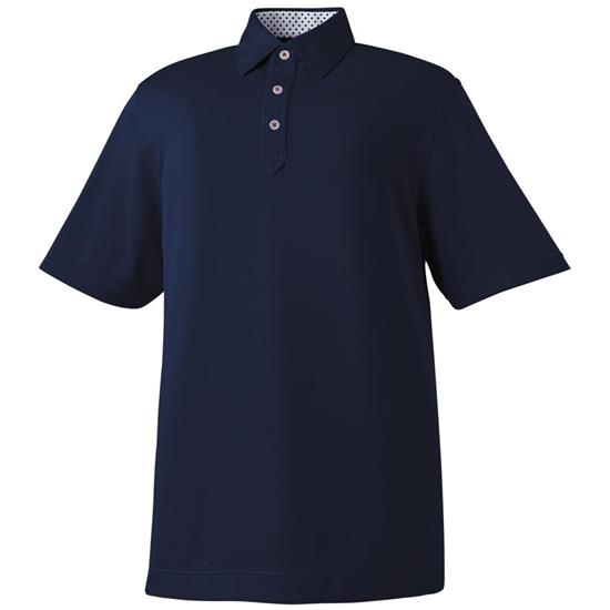 FootJoy Men's Solid Pique Print Accent Self Collar Polo