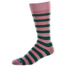 Kentwool Men's 19th Hole Stripe Crew Socks - Pink-Green - X-Large (Size 11.5-15)