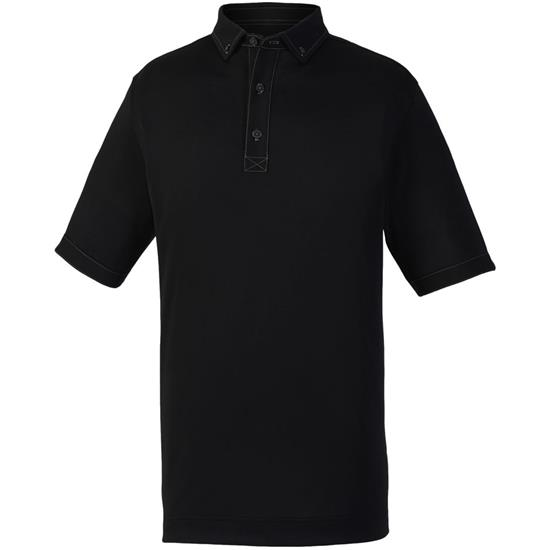 FootJoy Men's Solid Pique Woven Trim Athletic Fit Polo