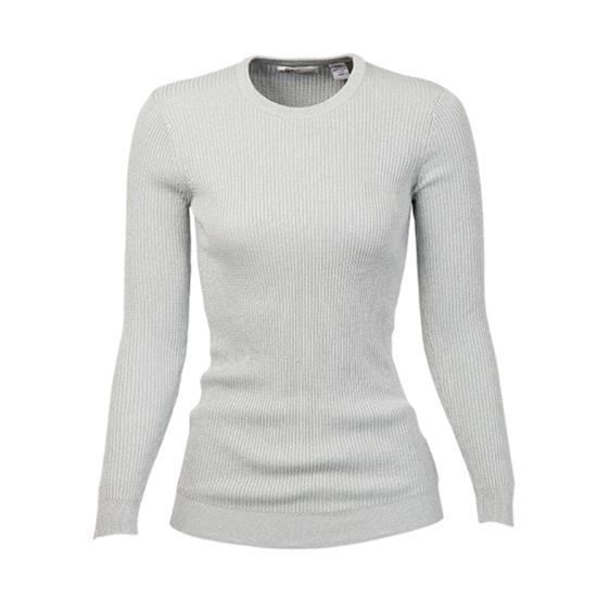 Greg Norman Long Sleeve Lurex Crew Neck Rib Sweater for Women