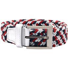 Adidas Braided Weave Stretch Belt - White-Scarlet-Dark Slate - Small/Medium