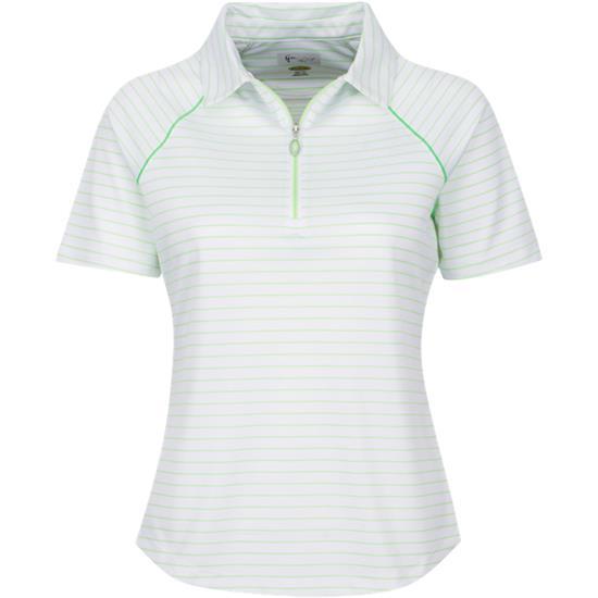 Greg Norman Short Sleeve Zip Stripe Polo for Women