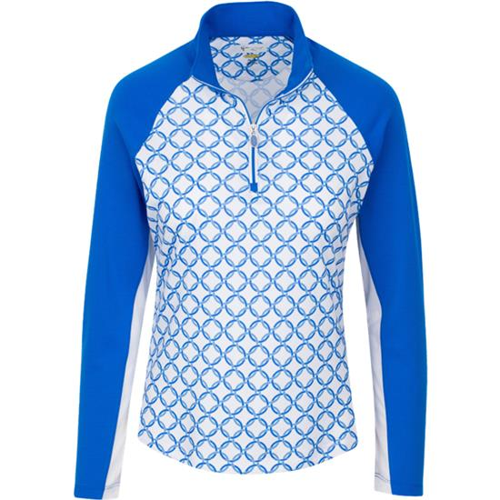 Greg Norman Solar XP 1/4 Zip Chain Link Print Polo for Women