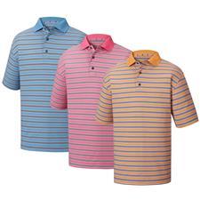 FootJoy Men's Heather Lisle Stripe Knit Collar Polo