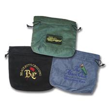 Logo Golf Micro Suede Embroidered Custom Logo Pouches - Beige