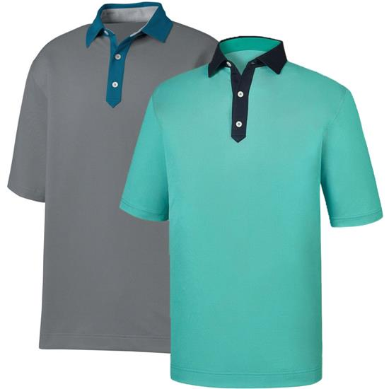 FootJoy Men's Birdseye Jacquard Solid Trim Self Collar Polo