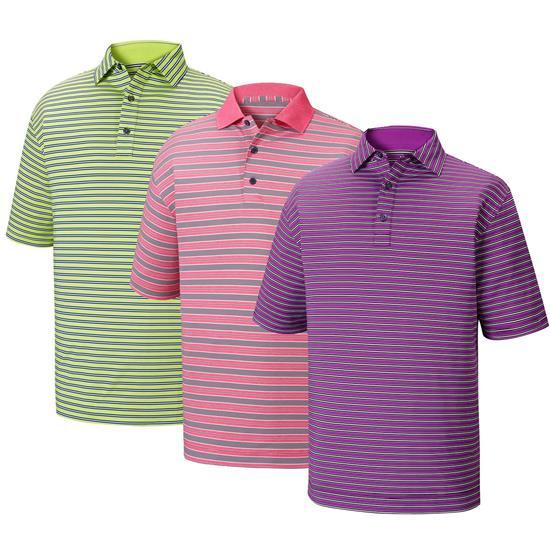 FootJoy Men's Lisle Multi Stripe Self Collar Prior Season Polo