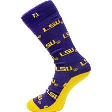 FootJoy Men's ProDry Crew Sock - Purple-Gold - LSU Tigers