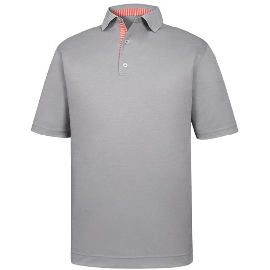 FootJoy Men's Smooth Pique Solid Trim Knit Collar Polo
