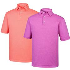 FootJoy Men's Heather Jacquard Mini Check Self Collar Polo