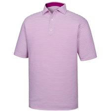 FootJoy Men's Stretch Lisle Feeder Stripe Spread Collar Polo