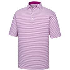 FootJoy White-Mulberry Stretch Lisle Feeder Stripe Spread Collar Polo