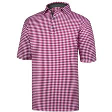 FootJoy Men's Stretch Lisle Gingham Print Self Collar Polo