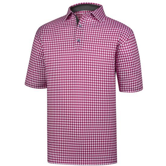 FootJoy Men's Stretch Lisle Gingham Print Self Collar Polo