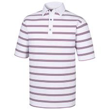 FootJoy White-Black-Mulberry Stretch Lisle Open Stripe Self Collar Polo