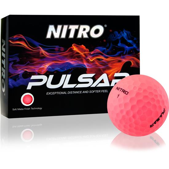 Nitro Pulsar Matte Finish Pink Golf Balls