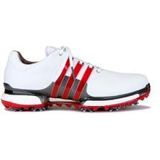 Adidas White-Scarlet-Dark Silver Metallic Tour 360 Boost 2.0 Golf Shoes