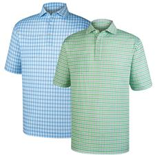 FootJoy Men's Lisle Printed Plaid Self Collar Polo