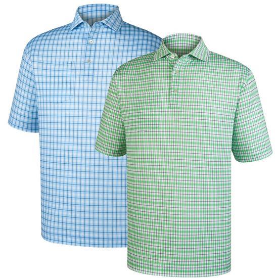 FootJoy Men's Lisle Printed Plaid Self Collar Polo