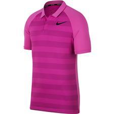 Nike Hyper Magenta-Light Carbon-Black Stripe Zonal Cooling Polo