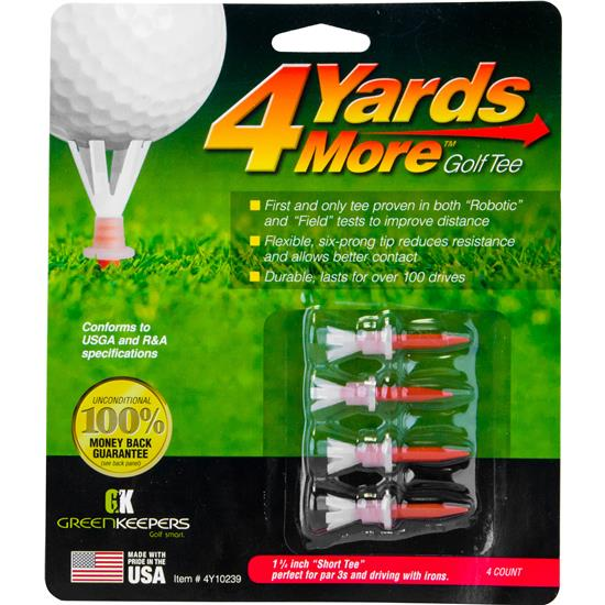 4 Yards More 1 3/4 Inch Red Golf Tees - 4 CT