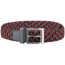 Adidas Braided Weave Stretch Belt - Grey Three-Hi Res Red - Large/X-Large