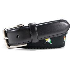 Arnold Palmer 32mm Embroidered Web Belt - Black - Size 34