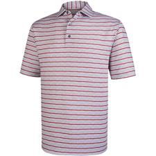 FootJoy White-Charcoal-Red Lisle Space Dye Stripe Self Collar Polo
