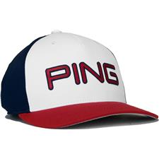 PING Men's Structured Adjustable Hat - Red-White-Navy