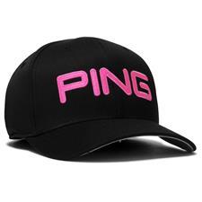 PING Men's Tour Structured Hat - Black-Pink - Large/X-Large