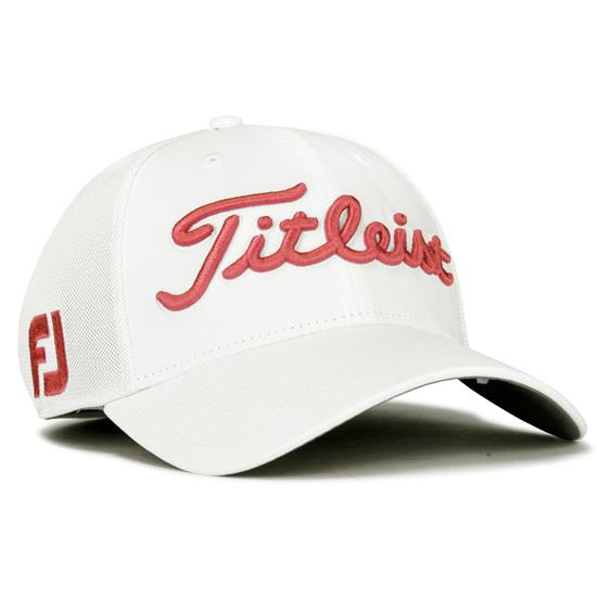Titleist Men s Tour Sports Mesh Hat - White-Island Red - Medium ... 7beea3df3ac